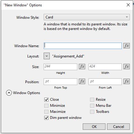 New window options