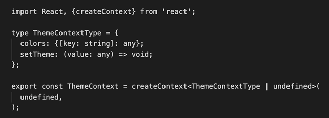 Theme context object